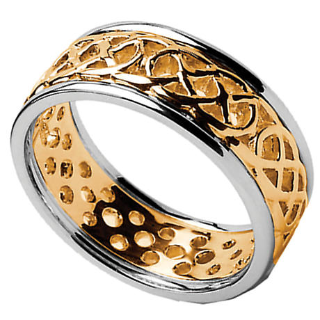 Celtic Ring - Men's Yellow Gold with White Gold Trim Pierced Celtic Wedding Ring