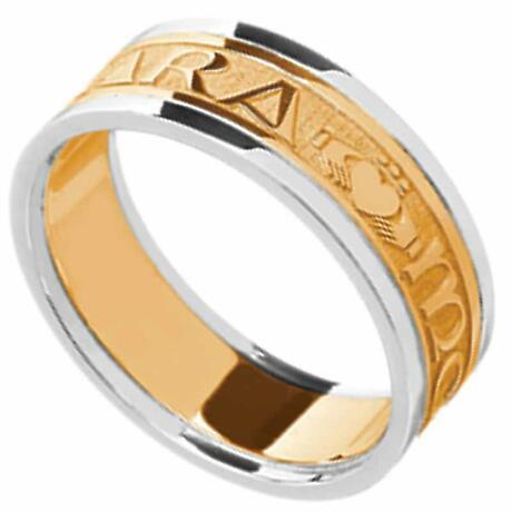 Mo Anam Cara Ring - Men's Yellow Gold with White Gold Trim - Mo Anam Cara 'My Soul Mate' Irish Wedding Band
