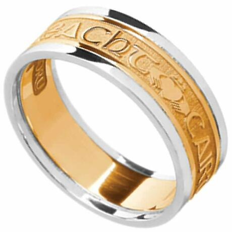 Irish Ring - Men's Yellow Gold with White Gold Trim - Gra Dilseacht Cairdeas 'Love, Loyalty, Friendship'  Irish Wedding Ring