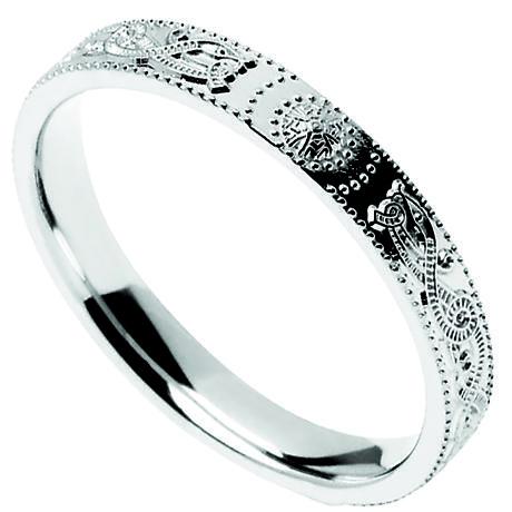 Celtic Ring - Narrow Celtic Warrior Shield Wedding Ring