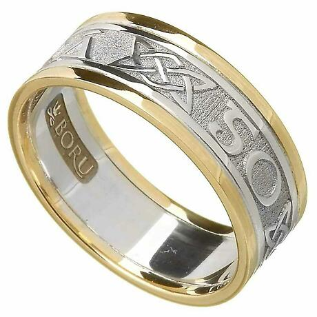 Irish Ring - Ladies White Gold with Yellow Gold Trim - Gra Go Deo 'Love Forever' Irish Wedding Ring