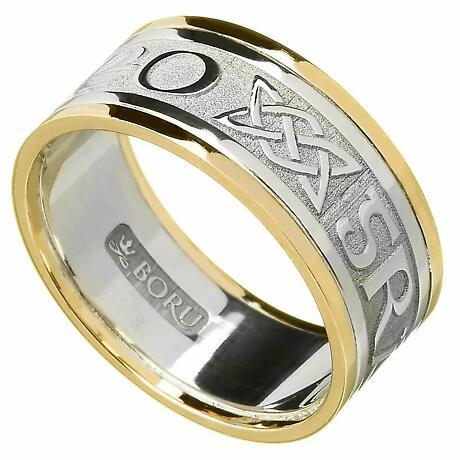 Irish Ring - Men's White Gold with Yellow Gold Trim - Gra Go Deo 'Love Forever' Irish Wedding Ring