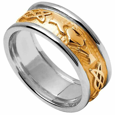 Claddagh Ring - Ladies Yellow Gold with White Gold Trim Claddagh Celtic Knot Wedding Ring