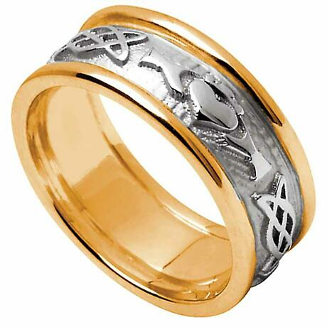 Claddagh Ring - Men's White Gold with Yellow Gold Trim Claddagh Celtic Knot Wedding Ring
