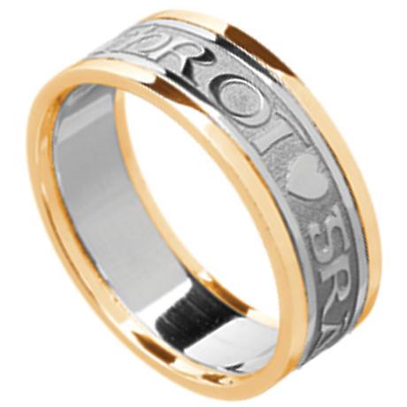 Irish Ring - Men's White Gold with Yellow Gold Trim Gra Geal Mo Chroi 'Love of my heart' Irish Wedding Ring