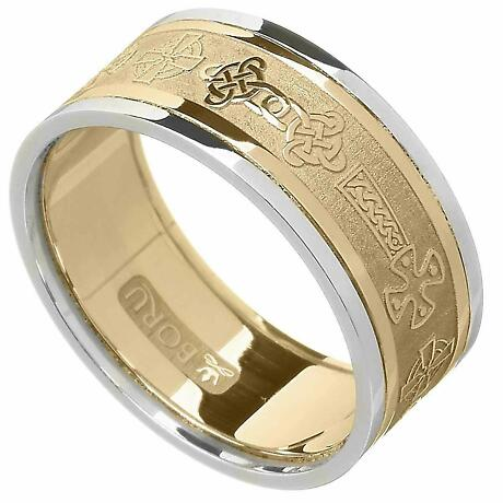 Celtic Ring - Men's Yellow Gold with White Gold Trim Celtic Cross Wedding Ring