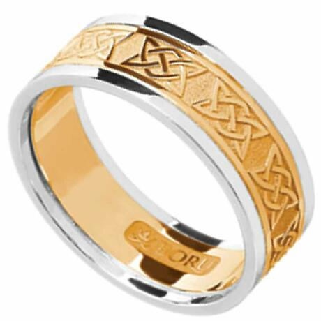 Irish Ring - Men's Yellow Gold with White Gold Trim Lovers Knot Wedding Band