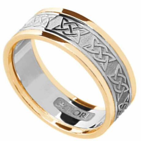 Irish Ring - Men's White Gold with Yellow Gold Trim Lovers Knot Wedding Band