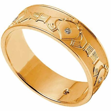 Claddagh Ring - Ladies Diamond Set Claddagh Wedding Band
