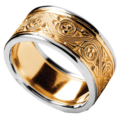 Irish Ring - Men's Yellow Gold with White Gold Trim Triskele Weave Irish Wedding Ring