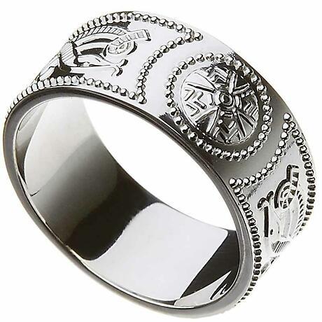 Celtic Ring - Men's Celtic Warrior Shield Wedding Ring - Extra Wide