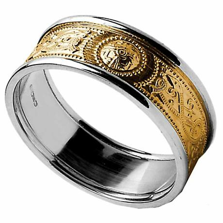 Celtic Ring - Ladies Warrior Shield Yellow Gold with White Gold Trim Wedding Ring