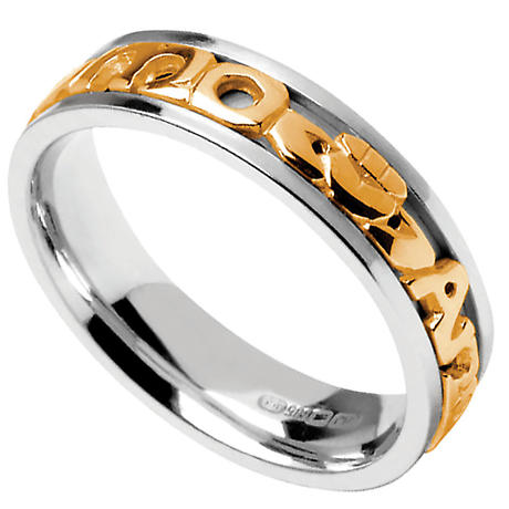 Mo Anam Cara Ring - Men's White Gold with Yellow Gold Text Mo Anam Cara 'My Soul Mate' Signature Irish Wedding Band