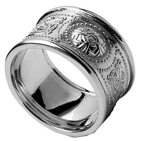 Celtic Ring - Men's White Gold Warrior Shield Wedding Band