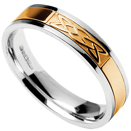 Celtic Ring - Men's Sterling Silver with 10k Yellow Gold Celtic Knot Irish Wedding Band