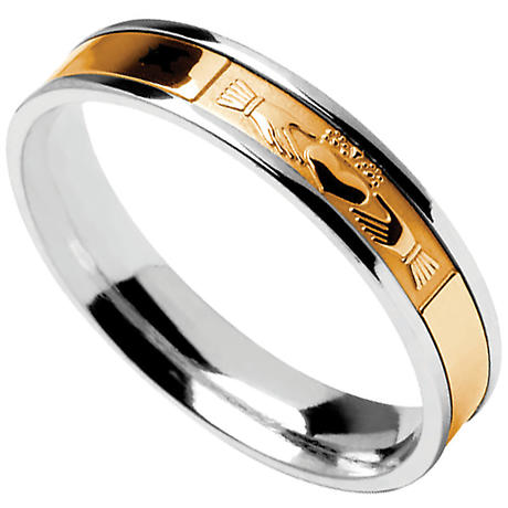 Claddagh Ring - Men's Sterling Silver with 10k Yellow Gold Claddagh Irish Wedding Band