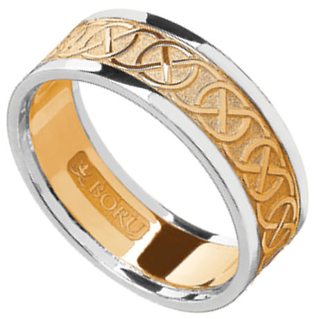 Celtic Ring - Ladies Yellow Gold with White Gold Trim Celtic Wedding Ring
