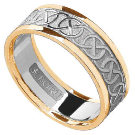 Celtic Ring - Ladies White Gold with Yellow Gold Trim Celtic Knotwork Wedding Ring