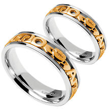 "Irish Rings - White Gold with Yellow Gold Text Mo Anam Cara ""My Soul Mate"" Signature Wedding Band Set"