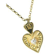 "Irish Necklace - 10k Gold Mo Anam Cara ""My Soul Mate"" Pendant with Chain and Stone Set"