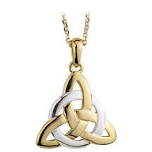 Celtic Pendant - 14k Two Tone Gold  Fancy Trinity Celtic Knot Pendant with Chain