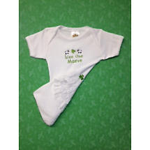 "Personalized ""Wee One"" White Romper with Ruffle"