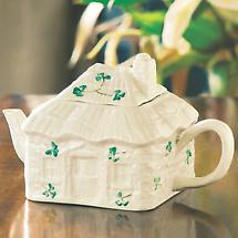 Belleek Shamrock Irish Cottage Teapot