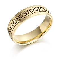 Irish Wedding Ring - Mens Gold Celtic Knots Wedding Band