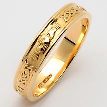 Irish Wedding Ring - Men's Narrow Sterling Silver Corrib Claddagh Wedding Band