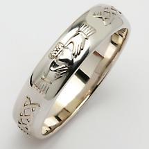 Irish Wedding Ring - Men's Narrow Sterling Silver Claddagh Celtic Knot Corrib Wedding Band - Comfort Fit