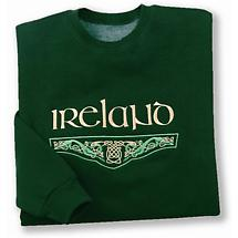 Ireland Celtic Knot Embroidered Sweatshirt - Forest Green