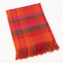 100% Pure Lambswool Throw - Red Tartan