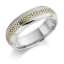 Irish Wedding Ring - Ladies White and Yellow Gold Celtic Knot Wedding Band