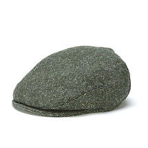 Vintage Irish Donegal Tweed Cap Green Salt and Pepper