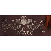 Ladies V-Neck Claddagh Embroidered Sweatshirt - Soft Brown