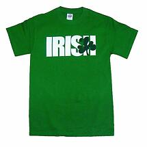 "Irish T-Shirt - ""Irish"" Shamrock (Green)"