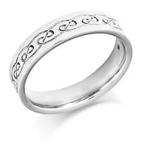 Irish Wedding Ring - Mens Gold Celtic Spiral Weave Irish Wedding Band