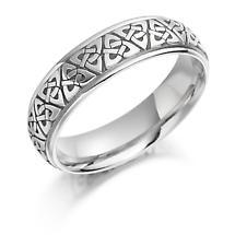 Irish Wedding Ring - Mens Gold Trinity Knot Celtic Wedding Band
