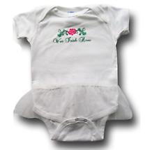 "Irish Romper - ""Wee Irish Rose"" Infant Romper with Tutu - White"