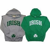 Irish Sweatshirt - Irish Hooded Sweatshirt with Shamrock on Pocket