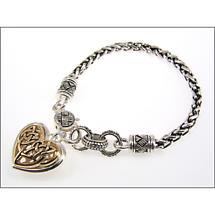 Celtic Bracelet - Two Tone Celtic Heart Bracelet