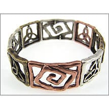 Celtic Bracelet - Three Tone Spiral and Trinity Stretch Bracelet
