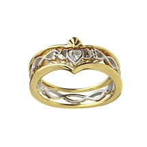 Irish Ring - Three Piece Silver and 10k Gold CZ Claddagh Ring