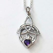 Celtic Necklace - Trinity Knot Claddagh Pendant - Amethyst