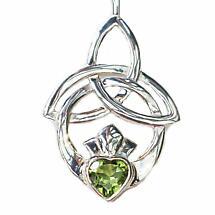 Celtic Necklace - Trinity Knot Claddagh Pendant - Peridot