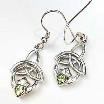 Celtic Earrings - Trinity Knot Claddagh Earrings - Peridot