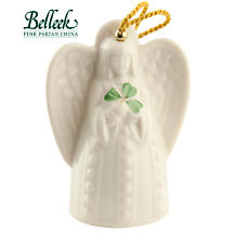 Irish Christmas - Belleek Angel with Shamrock Ornament