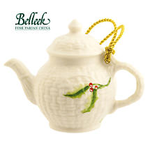 Irish Christmas - Belleek Miniature Teapot Ornament