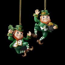 Irish Christmas - Dancing Leprechauns Ornaments - Set of 2