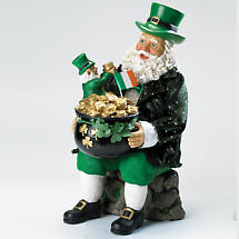 Irish Christmas - Pot of Gold Musical Santa Figurine